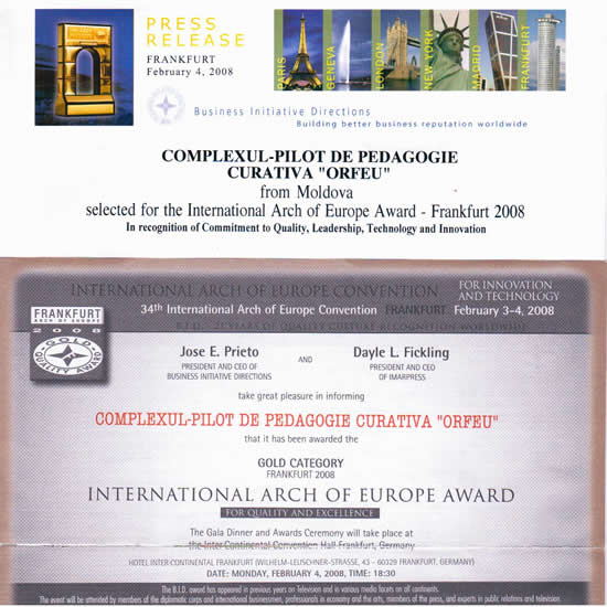 Diploma GOLD CATEGORY FRANKFURT 2008, INTERNATIONAL ARCH OF EUROPE AWARD